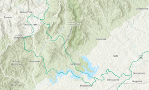 Map showing the two routes the Overmountain Men took down the Blue Ridge Escarpment at Spruce Pine, NC