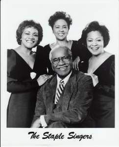 "Left to right:  Cleotha, Yvonne and Mavis Staples. Roebuck ""Pops"" Staples is seated. Photo Provided - 1984 ."