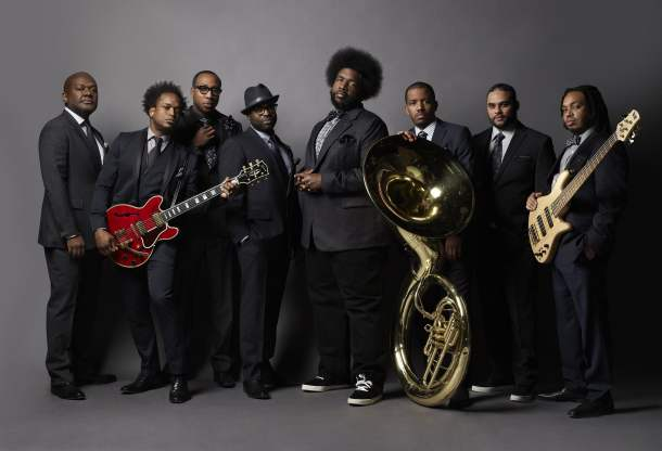 "Pictured: (l-r) James Poyser, Kirk ""Captain Kirk"" Douglas, Frank ""Knuckles"" Walker, Tariq ""Black Thought"" Trotter, Ahmir ""?uestlove"" Thompson, Damon ""Tuba Gooding Jr."" Bryson, James ""Kamal"" Gray, Mark Kelley -- (Photo by: Mark Seliger/NBC)"