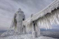 The edges of nearby Lake Erie become sculptures of perilous beauty during the winter.