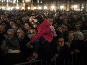 People gather outside of Notre Dame Cathedral in Paris, ahead of a ceremony forthe victims of Friday's terrorist attacks.Even as we mourn for those lost in the violence, Michel Martin says, we should not forget the many who have died in similar attacks the world ove