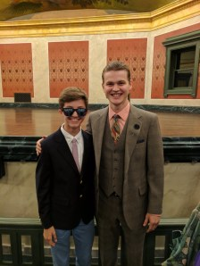 Miracle: Lead character Alec (Rupert Spraul) standing with his younger self (Peanut Edmonson)!