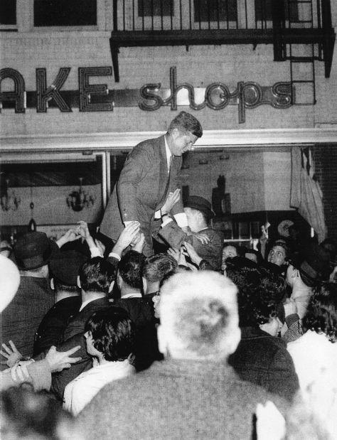 John F. Kennedy at Dubrow's Cafeteria in 1960. Photographer unknown, via Sandra Cohen.
