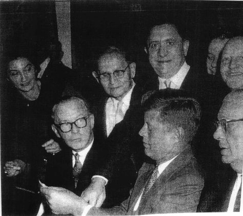 My grandfather and JFK at Dubrow's Cafeteria. Photographer unknown, via Sandra Cohen.