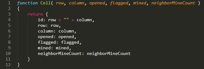 JavaScript code for a minesweeper cell