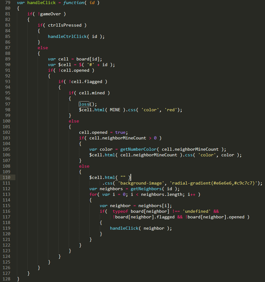 JavaScript code that executes when a minesweeper cell is opened.