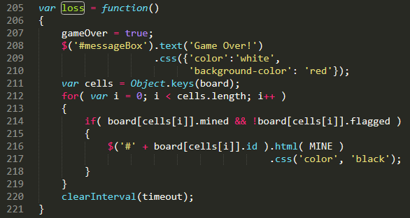 JavaScript code that gets called whenever the player has lost at minesweeper.
