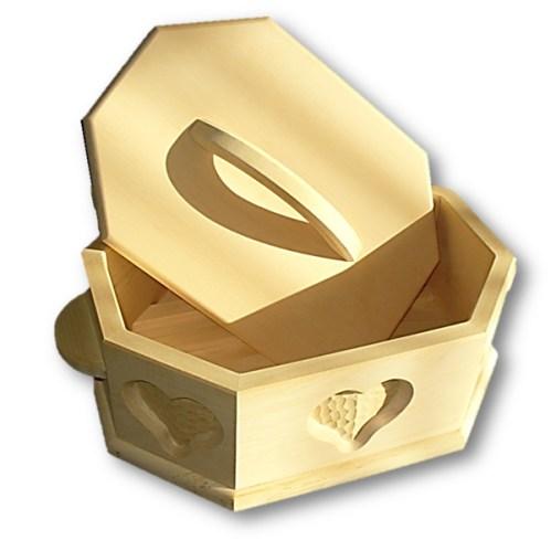 Brotdose aus Zirbenholz achteckig