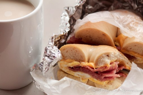 """New Jersey comfort food - egg, cheese, and taylor ham on a bagel and """"cawfee"""""""