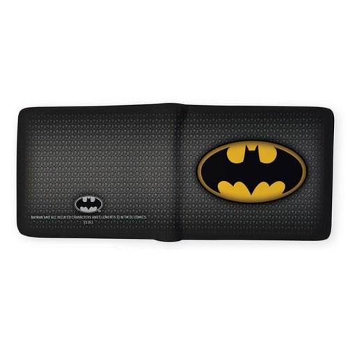Portafoglio di Batman con logo classico DC Comics aperto