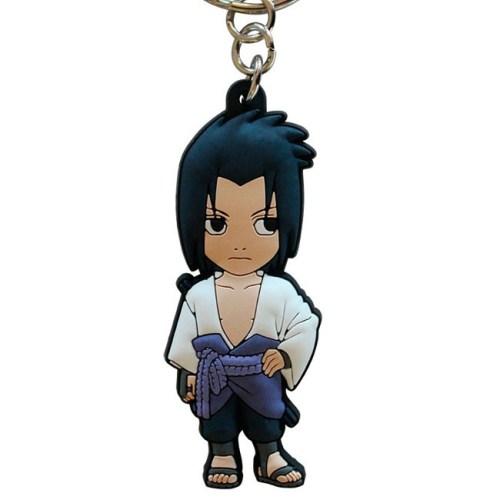 Portachiavi Naruto Shippuden Sasuke Uchica in gomma dettaglio