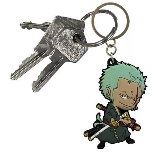 Portachiavi One Piece Zoro in gomma dettaglio chiavi