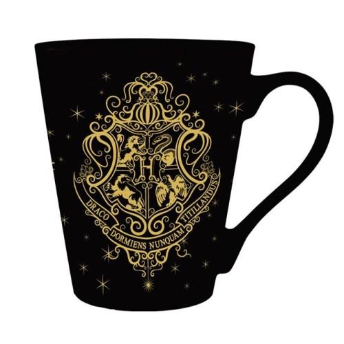 tazza nera stemma di hogwarts dorato