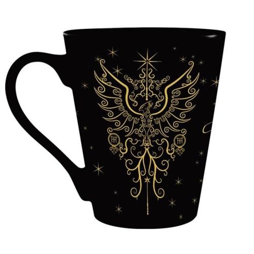 tazza nera stemma di hogwarts dorato retro