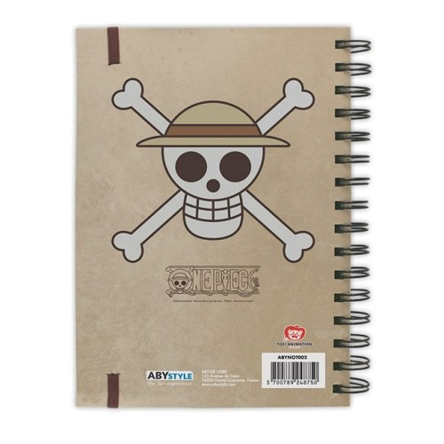 block notes con anelli wanted monkey d luffy one piece retro