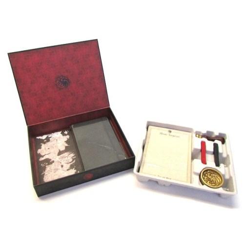 set Notebook Timbro ceralacca carte da lettera buste e fermacarte Targaryen Game of Thrones dettaglio scatola