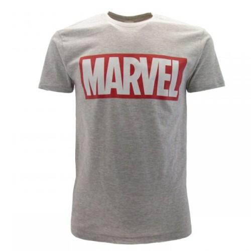 t-shirt grigia logo marvel