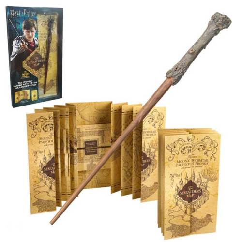 Bacchetta di Harry Potter e Mappa del Malandrino NOBLE COLLECTION Set Regalo