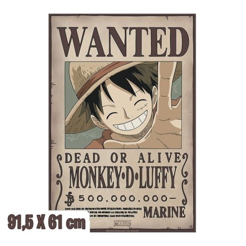 Poster Wanted MONKEY.D.LUFFY rubber one piece 91,5 X 61 cm