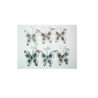 Set de Mariposas de Gasa Blancas con Sparkle