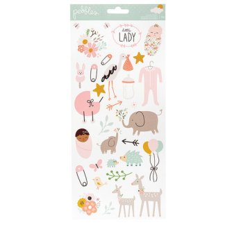 Pebbles Peek A Boo Cardstock Stickers, Girl