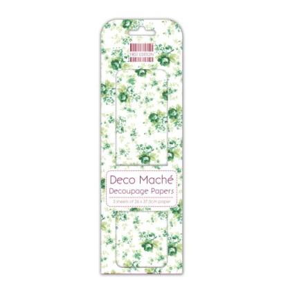 Paper Pack Deocupage Green Flowers