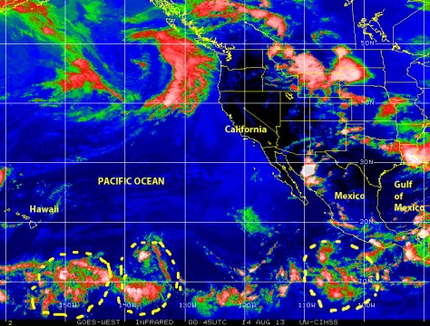 Color-enhanced infrared GOES satellite image on 13 August 2013 shows a few tropical waves, two of which may warrant closer monitoring, moving generally west from the eastern Pacific off the coast of central America toward Hawaii
