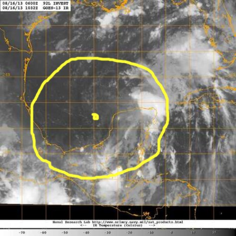 Infrared satellite image in the early hours of Friday 16 August showing the weather disturbance over the southern Gulf of Mexico, which is still generating copious rain far to the east over Cancun, Cozumel and the northeastern region of the Yucatan Peninsula