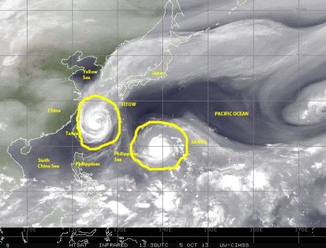 Satellite image with (courtesy of NASA) of 5 October showing water vapor in the atmosphere to highlight  a pair of simultaneously active tropical cyclones, typhoon FITOW nearing the Yellow Sea, and typhoon DANAS over the Philipines Sea