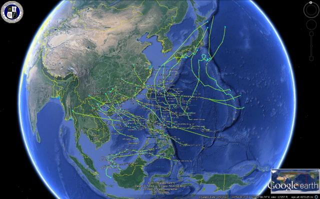 View of named-tropical cyclones generated in the Northwestern Pacific basin in 2013 as of 5 October 2013 (courtesy of Google Earth)
