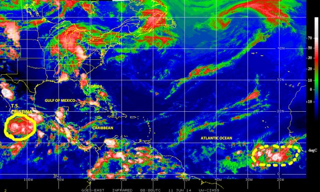 Color-enhanced infrared GOES-EAST satellite image of 10 June 2014 showing active and potential cyclonic activity from the eastern Pacific to the eastern Atlantic