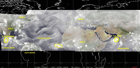 Mosaic of satellite images this Tuesday 10 June 2014 from the eastern Pacific to the Indian Ocean, showing two active tropical cyclones and other regions of  disturbed weather over the northern hemisphere