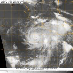 Close-up satellite view of Tropical Storm Cristina during the late evening of Tuesday 10 June 2014