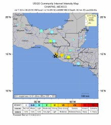 Map (USGS) showing area of impact by the 7 July 2014 MM6.9 earthquake