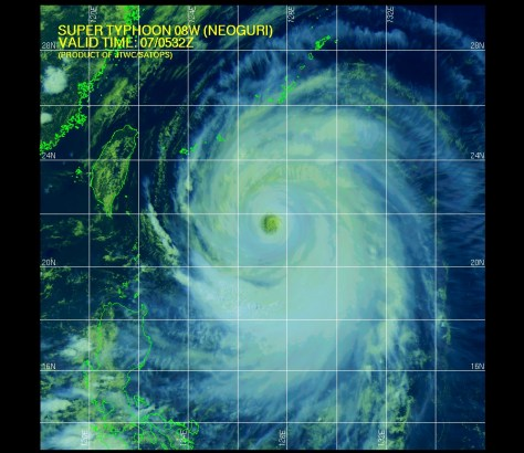 Infrared satellite image (Joint Typhoon Warning Center) of 7 July 2014 showing super-typhoon NEOGURI