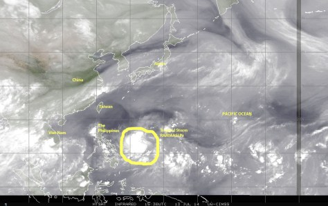 Water-vapor satellite image (JTWC) of the northwestern Pacific Ocean showing Tropical Storm RAMMASUN aiming for the Philippines