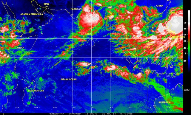 Color-enhanced infrared satellite image showing the Indian Ocean on 21 July 2014