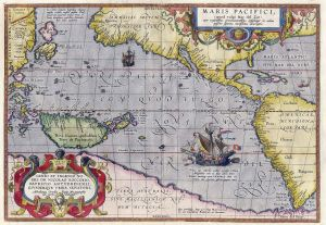 "Map of the Pacific Ocean, ""The Southern Sea', by Abraham Ortelius (1589), a royal cartographer for the court of Phlip II of Spain clearly showing the American continent separating the Atlantic from the Pacific"