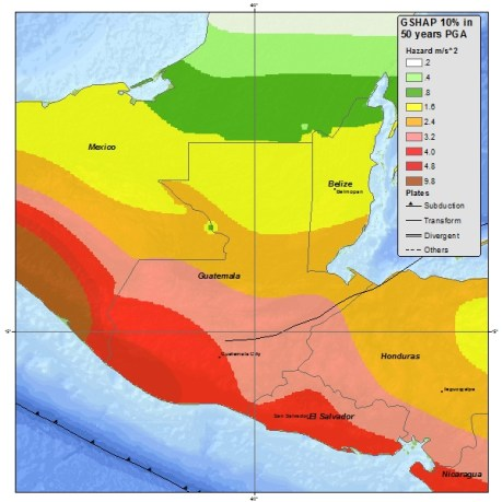 Color-coded map showing seismic vulnerability of the region around the area of impact by the NN6.9 of 7 July 2014
