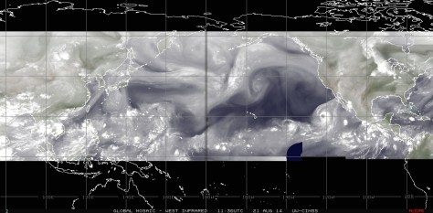 Composite mosaic of satellite images using the water vapor filter showing the 'belt of tropical activity' connecting the Eastern Pacific with the Western Pacific on 21 August 2014
