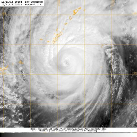 Super typhoon VONGFONG as seen from space (courtesy of NASA)  this Friday 10 October 2014