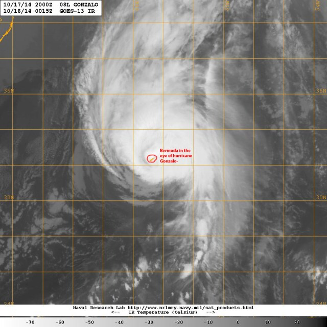 This satellite image (courtesy of the U.S. Navy Research Laboratory) captures the eye of hurricane GONZALO still partially over the northeastern portion of the Main island, in a tremendous feat of marksmanship by Mother Nature!