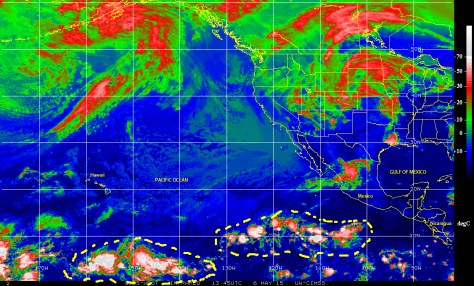 GOES satellite infrared image of 6 May 2015 showing cells of stormy weather over the eastern Pacific