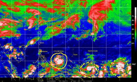 Infrared satellite image [NOAA] of 6 May 2015 showing Cyclone NOUL approaching the Philippines and Taiwan in the northwest Pacific ocean.