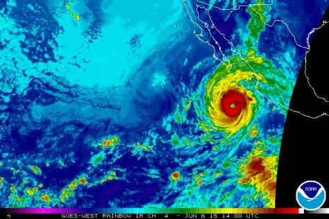 Rainbow satellite image [NOAA] of 6 Jume showing category 4 Hurricane BLANCA off the Pacific coast of Mexico