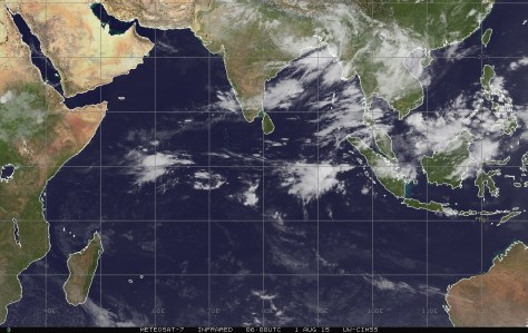 Infrared satellite image of 1 August 2015 showing the remains of a tropical storm in the region of the Bay of Bengal and Bangladesh