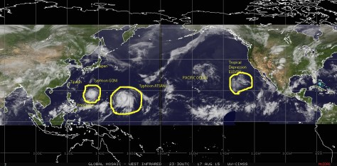 Mosaic of infrared satellite images of 17 August 2015 showing Tropical depression ELEVEN over the eastern Pacific, and typhoons GONI and ATSANI over the far northwestern Pacific