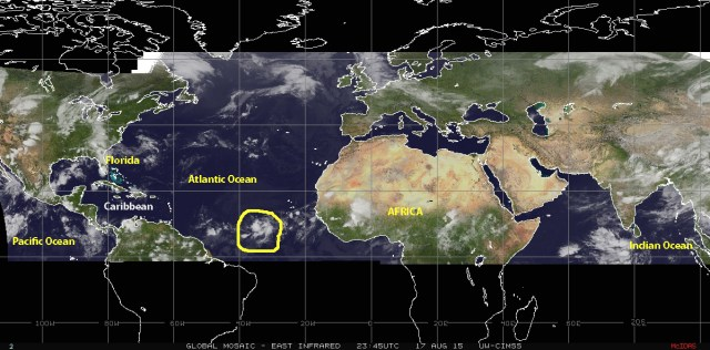 Mosaic of infrared satellite images of 17 August 2015 showing a strong tropical wave moivng along 'Hurricane Alley' some 1000 kilometers southwest of the Cape Verde Islands, which is showing sign of potential cyclonic activity