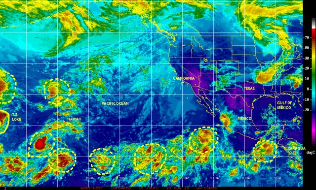 Color-enhanced infrared satellite image of 08/23/2015 showing several tropical waves and disturbed weather cells extending from the eastern Pacific off the coast of Central America and Panama to the central Pacific near Hawaii, where Tropical storm LOKE is now active and moving NNW toward the island of Midway.