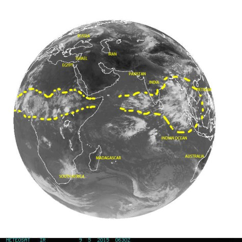 Full disk image of Earth on 09/05/2015 over the Indian Ocean where many of the seeds that become tropical waves over equatorial Africa usually form